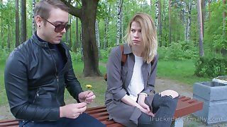 Dude picks up interesting blonde in the park for casual sex