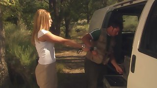 Alfresco fucking during camping with horny tow-haired Lauren Phoenix
