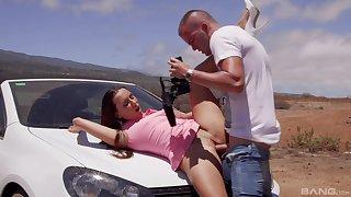 Hardcore fucking on the jalopy with snug tits pornstar Mia Melone
