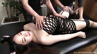 Wild fucking on an obstacle knead table with bizarre Asian girl Fuji Niina