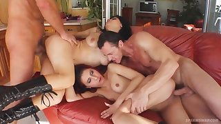 Ramona coupled with Casandra Group Sex Video
