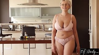Busty flaxen-haired temptress with pierced nipples together with glasses likes to get fucked from the back