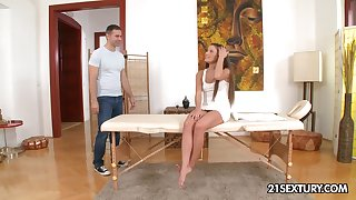 Cute masseuse Anita Bellini lets her client fuck her up the ass