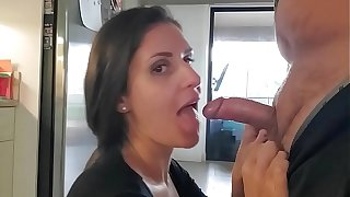 Sexy wife gives blowjob nearly kitchen