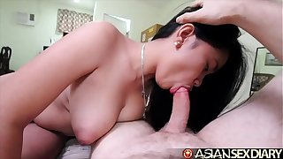 Asian Making love Diary - Sexy young MILF gets big white cock