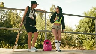 Funny teen Gia Derza is derisory talking with her bisexual girlfriend