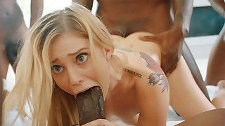 Platinum-Blonde's cock-squeezing labia pummeled firm overwrought phat dark-hued schlongs