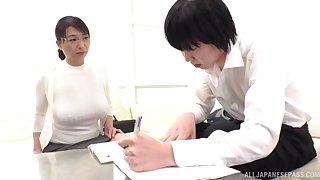 Japanese mature takes absent her clothes for sex