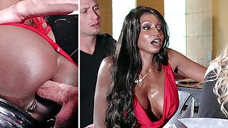 Bartender banged buzzed women ass shagging in 3some