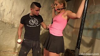 Gagged coupled with promised blonde whore Sweet Cat Sandy deserves kinky masturbation